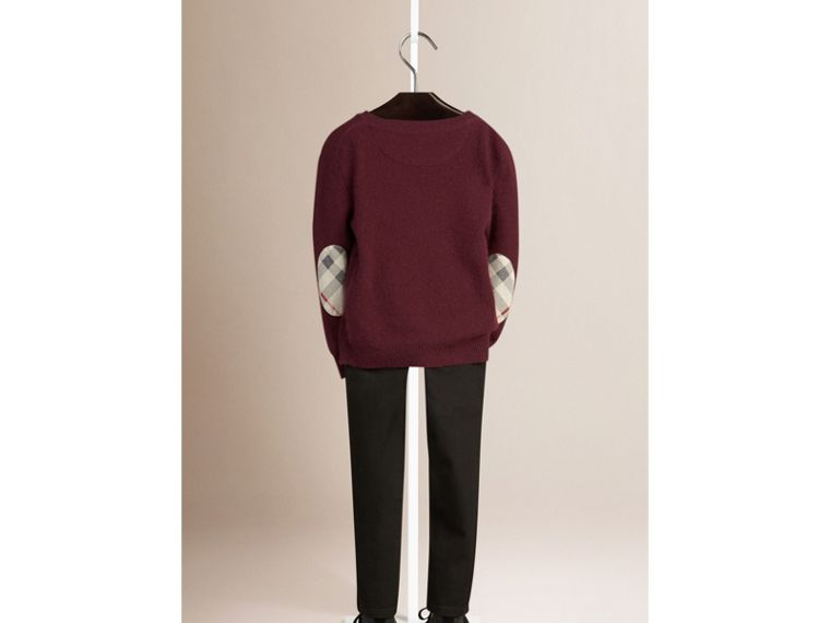 Check Elbow Patch Cashmere Sweater in Deep Claret - cell image 1