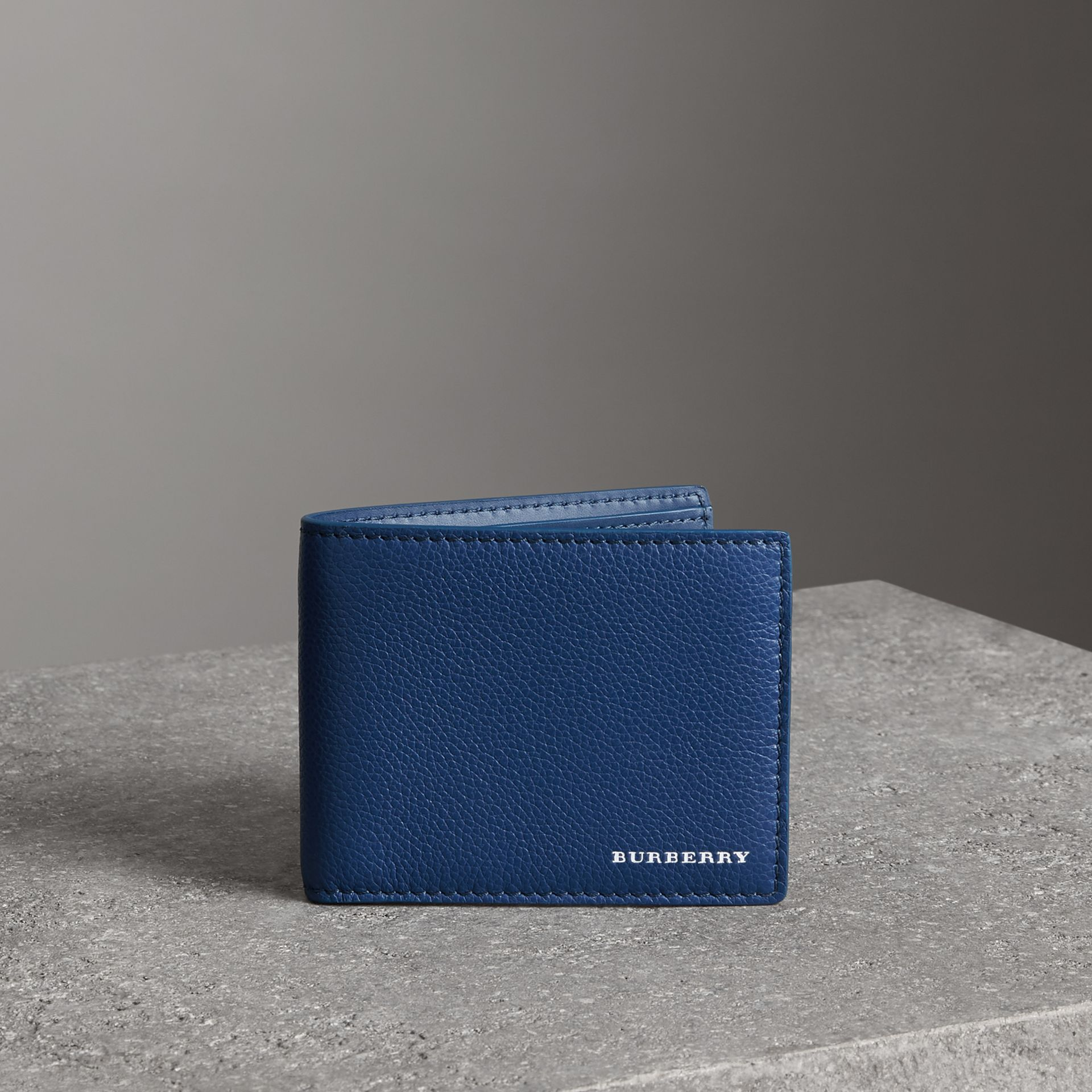 Grainy Leather Bifold Wallet in Bright Ultramarine - Men | Burberry United States - gallery image 0