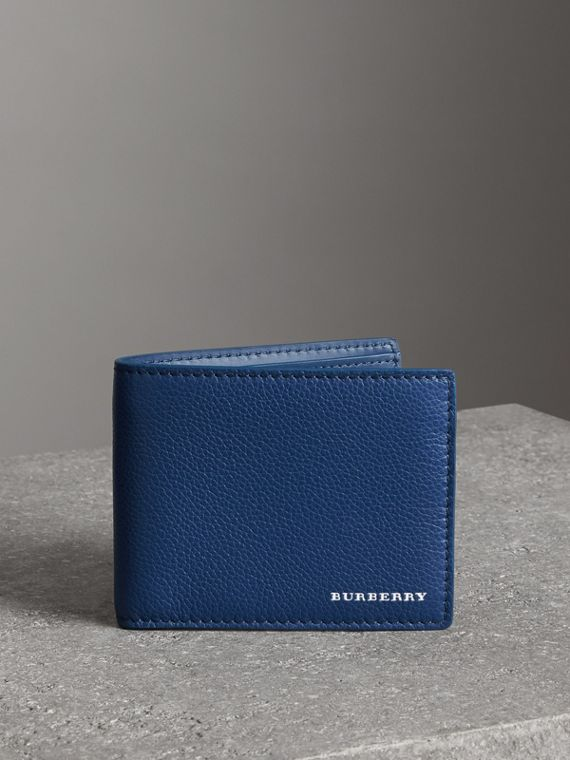 Grainy Leather Bifold Wallet in Bright Ultramarine