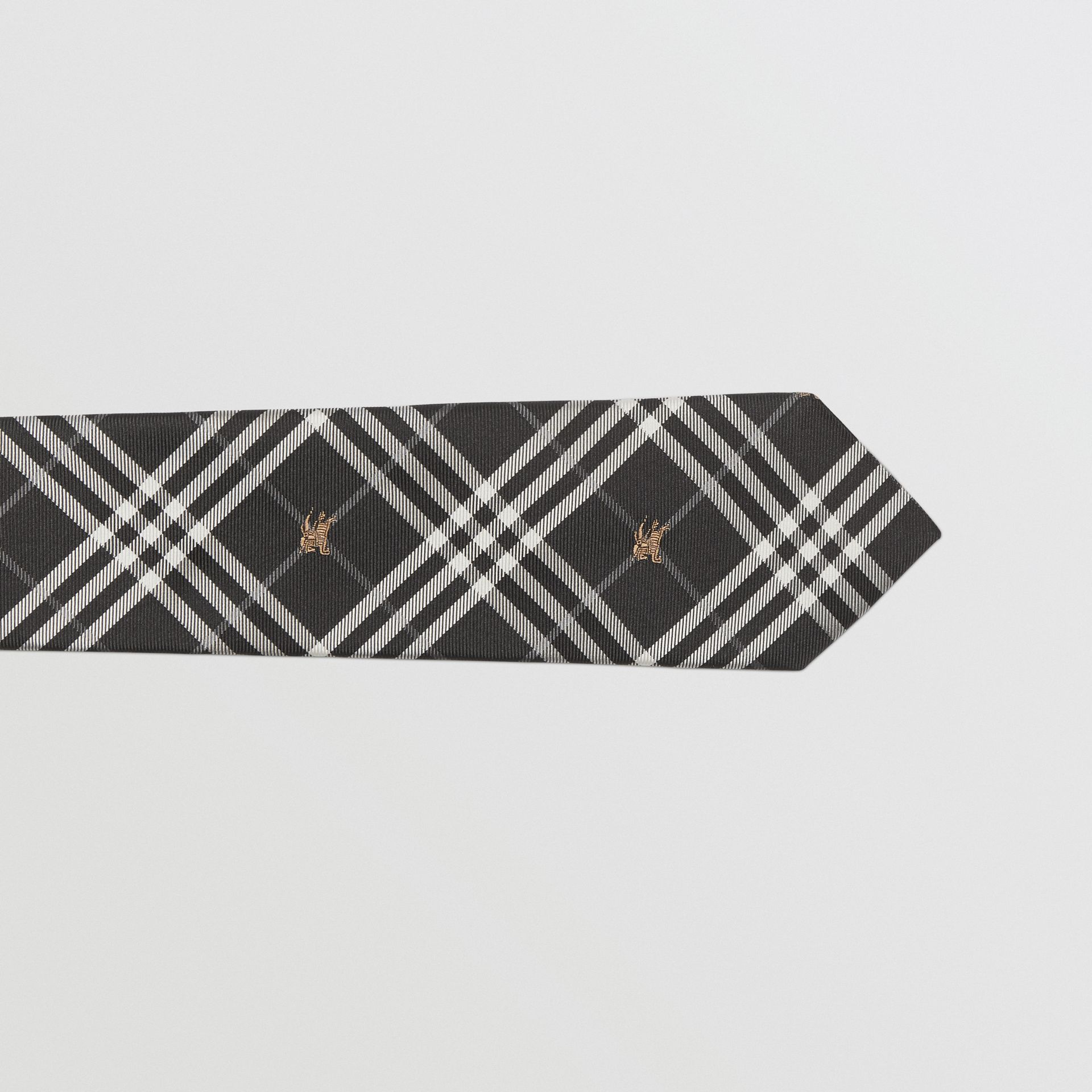 Slim Cut Equestrian Knight Check Silk Tie in Black - Men | Burberry - gallery image 1