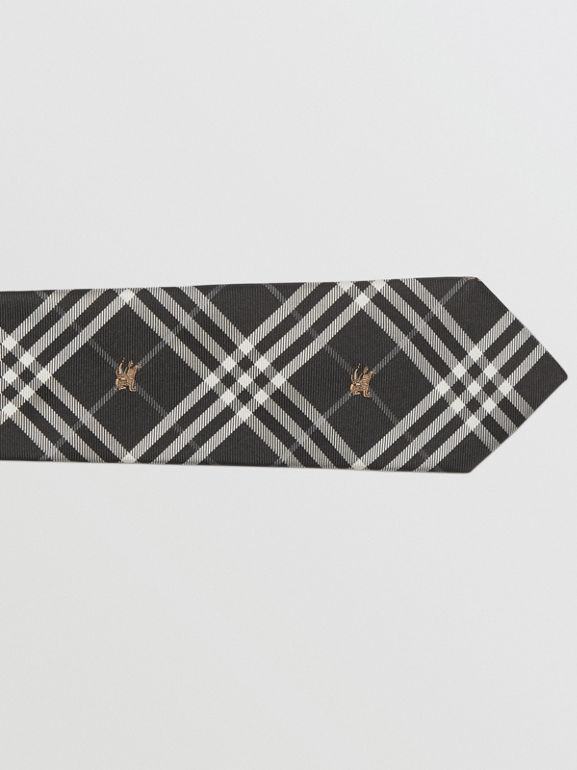 Slim Cut Equestrian Knight Check Silk Tie in Black - Men | Burberry - cell image 1