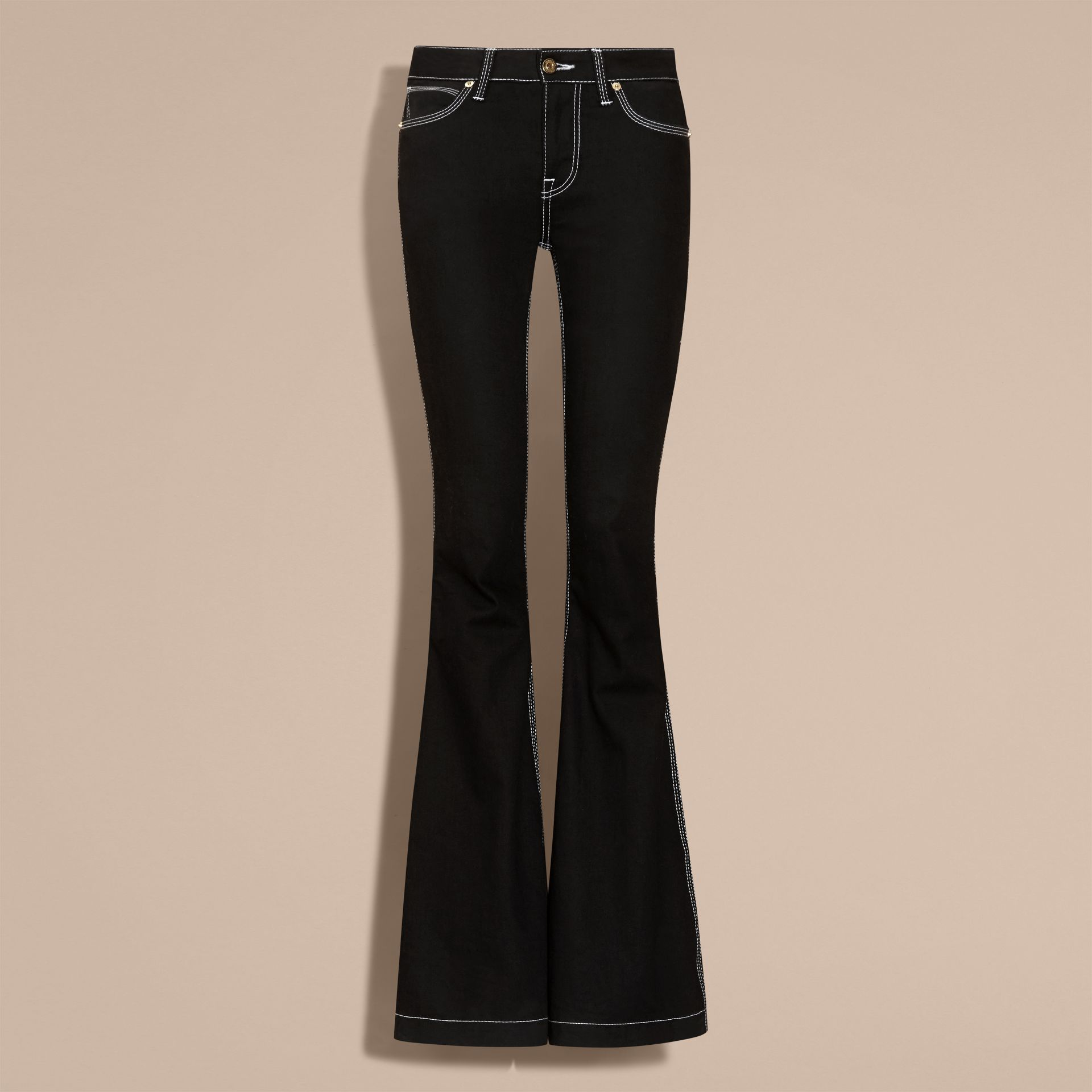 Black Flared Stretch Denim Low Rise Jeans - gallery image 4