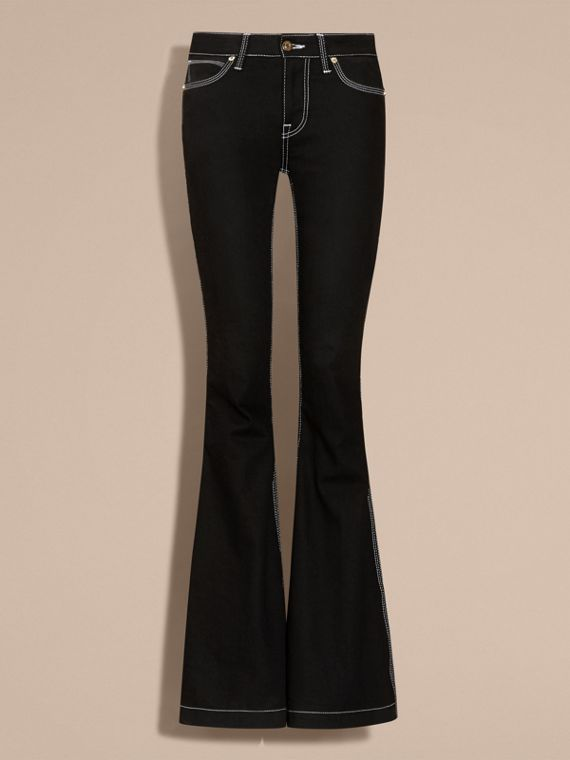 Black Flared Stretch Denim Low Rise Jeans - cell image 3