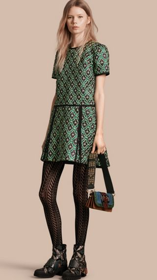 Patchwork Check Jacquard Dress
