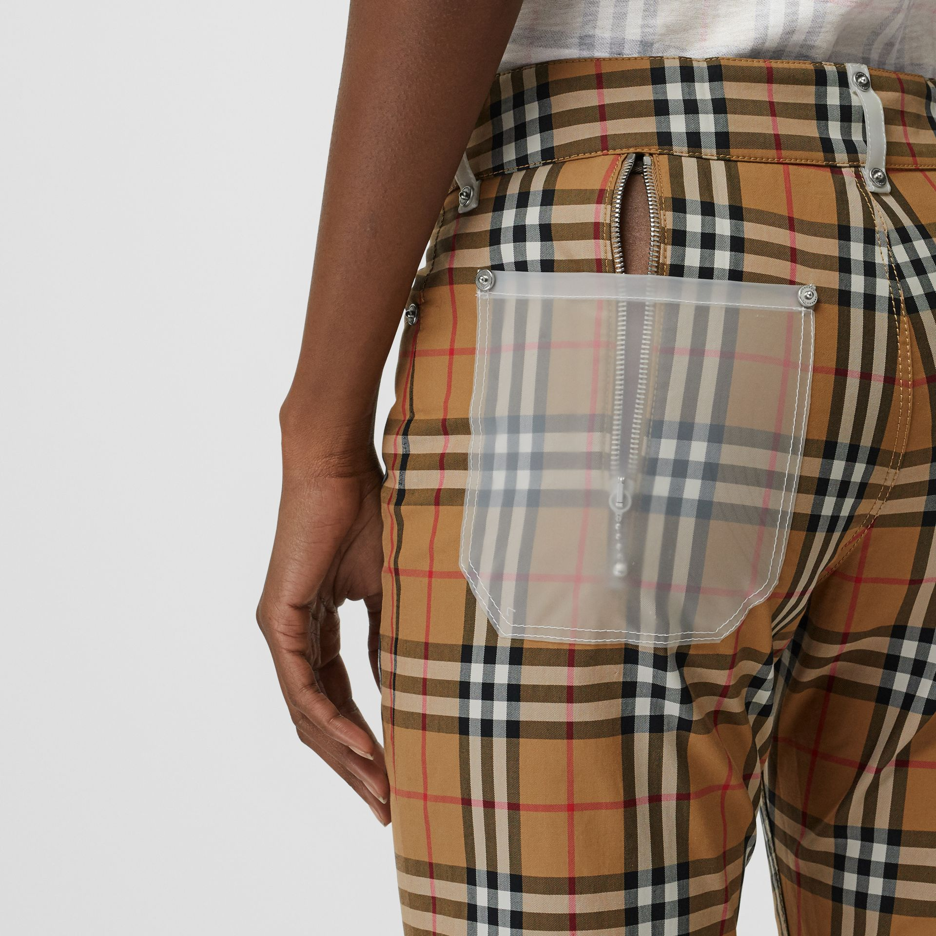 Zip Detail Vintage Check Cotton Trousers in Antique Yellow | Burberry - gallery image 4