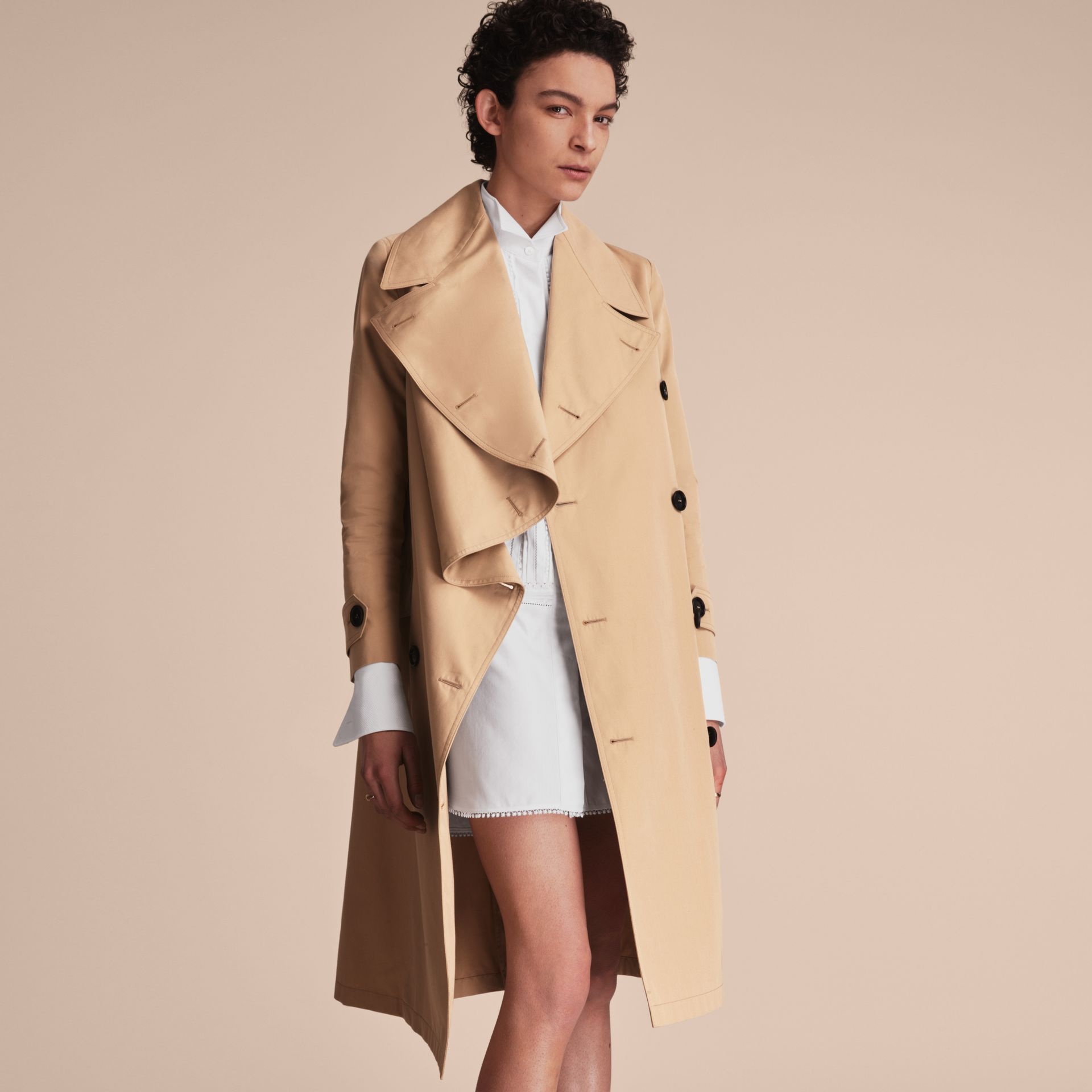 Curved Closure Cotton Gabardine Coat in Honey - Women | Burberry - gallery image 6