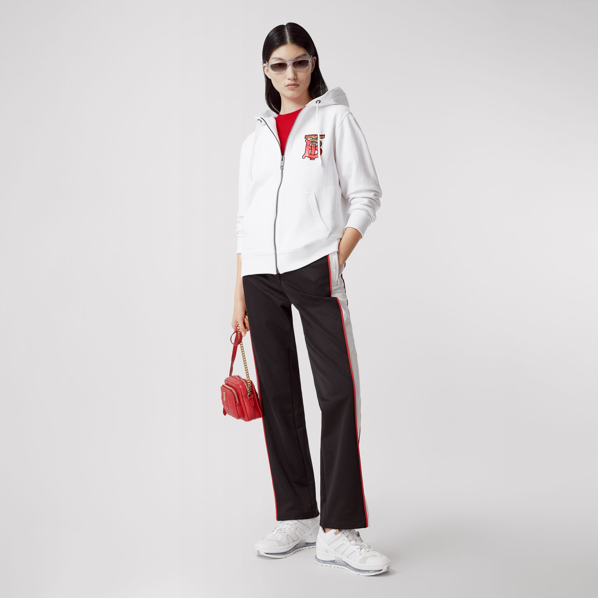Monogram Motif Cotton Oversized Hooded Top in White - Women | Burberry Canada - gallery image 0