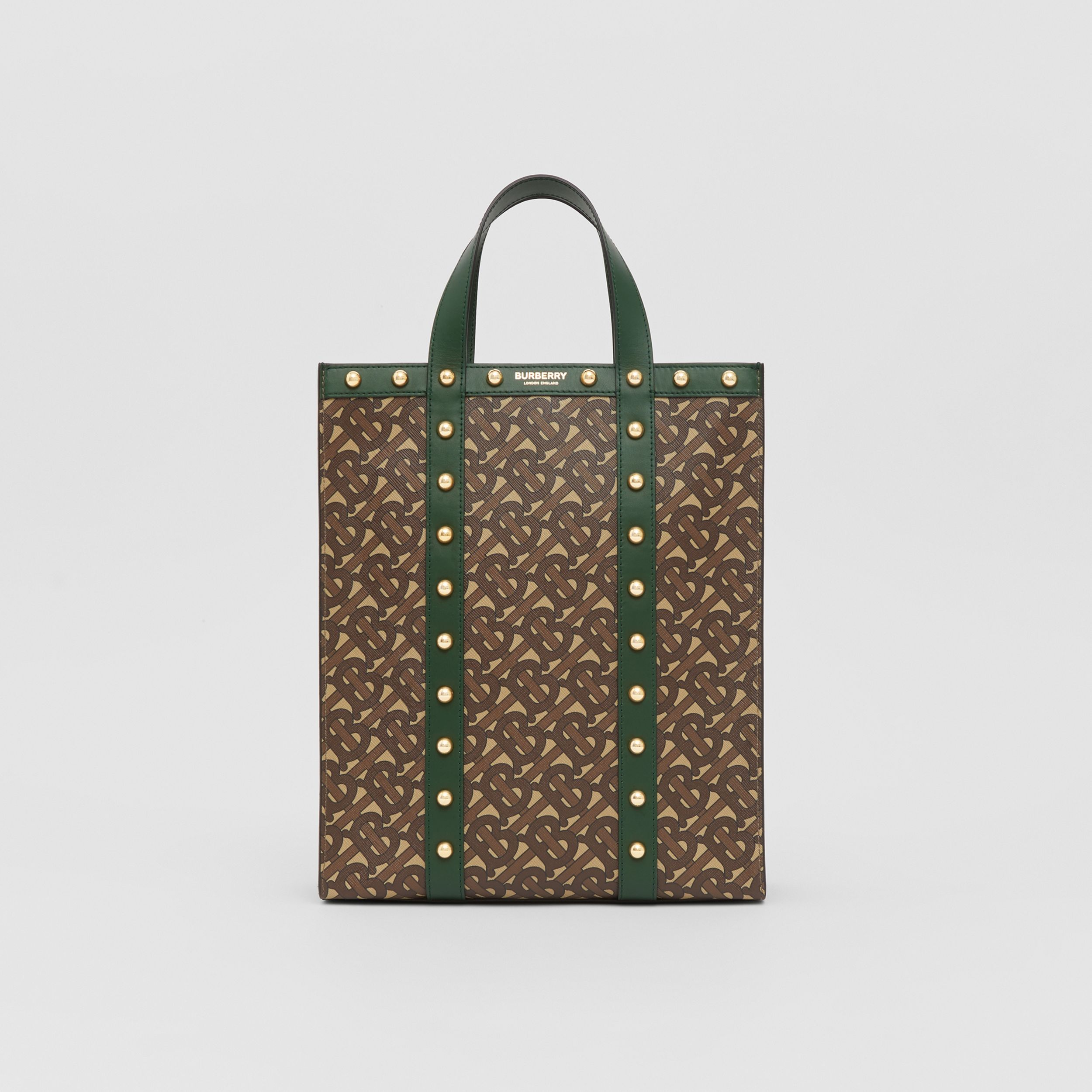 Small Monogram Print E-canvas Portrait Tote Bag in Dark Pine Green - Women | Burberry Australia - 1
