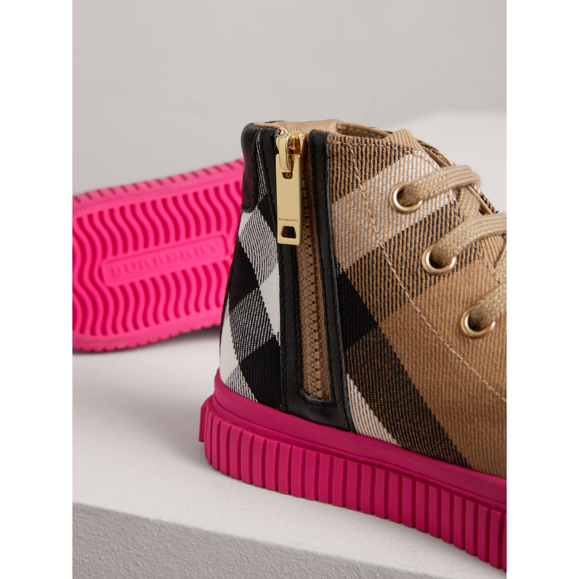 House Check and Leather High-top Sneakers in Classic/neon Pink | Burberry United Kingdom - gallery image 1