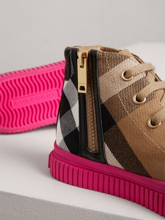 House Check and Leather High-top Sneakers in Classic/neon Pink - Children | Burberry - cell image 1