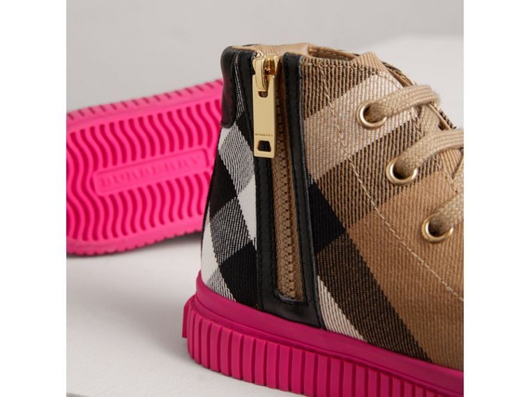 House Check and Leather High-top Sneakers in Classic/neon Pink | Burberry United Kingdom - cell image 1
