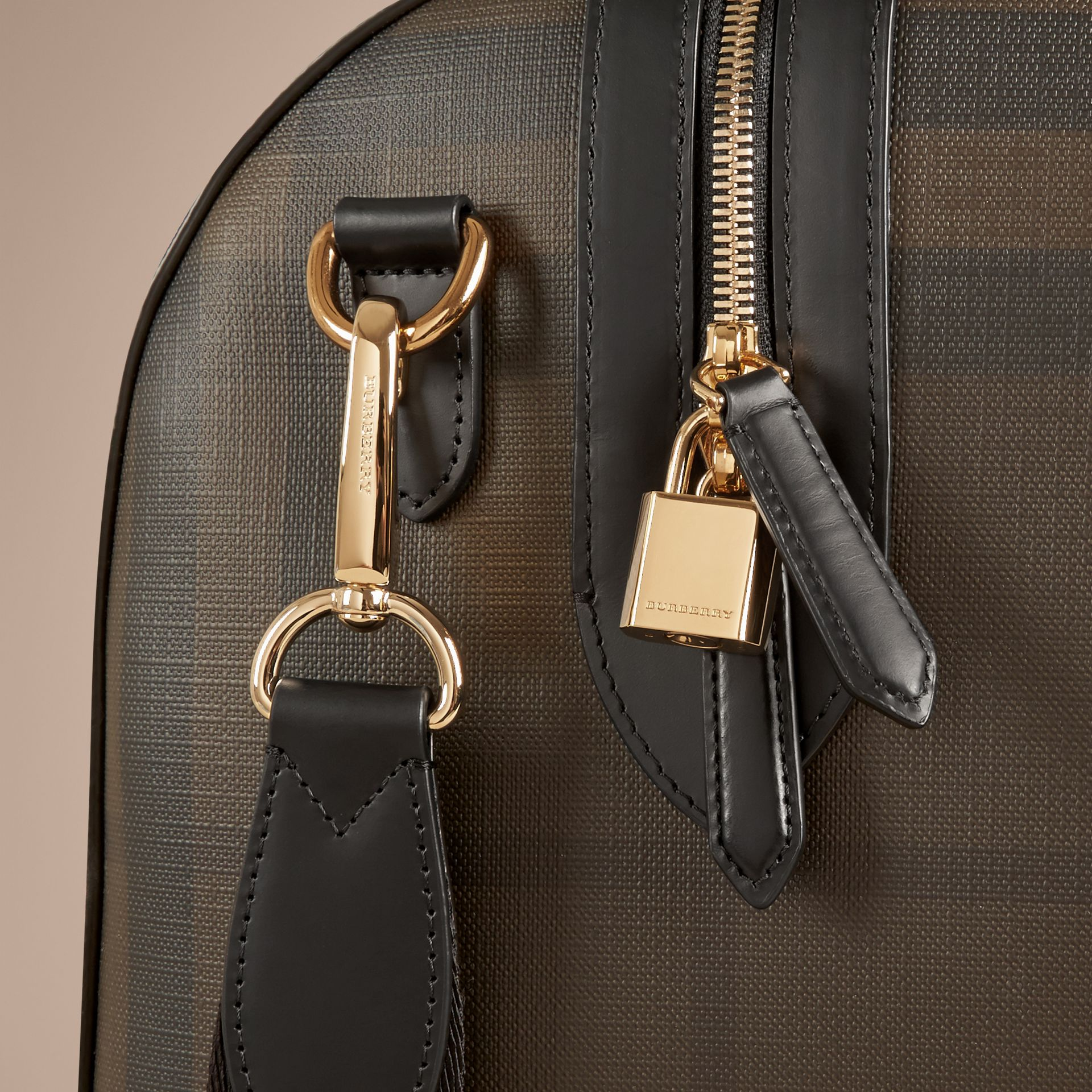 Leather Trim London Check Holdall in Chocolate/black - Men | Burberry Canada - gallery image 6