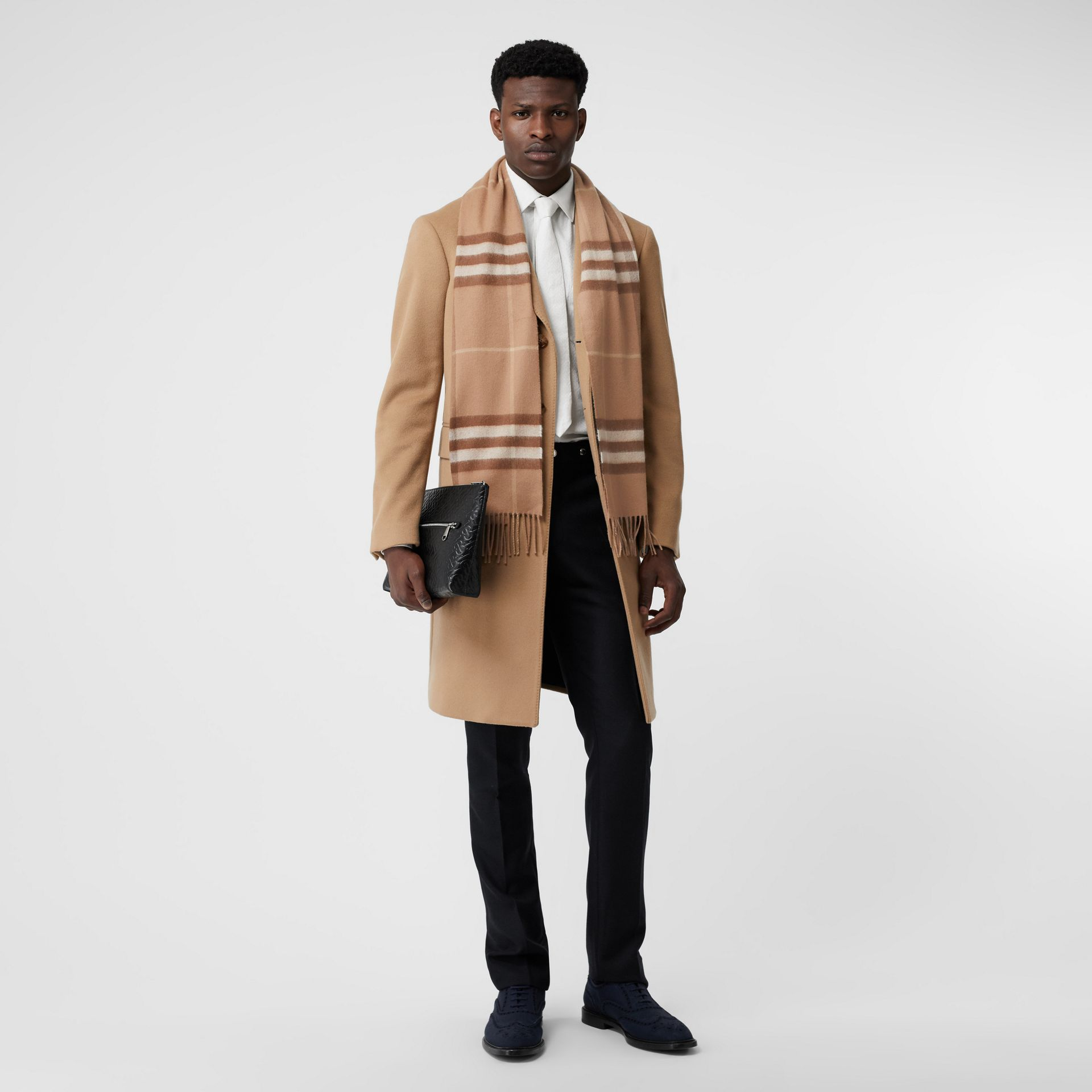 The Classic Check Cashmere Scarf in Mid Camel | Burberry Hong Kong S.A.R - gallery image 7