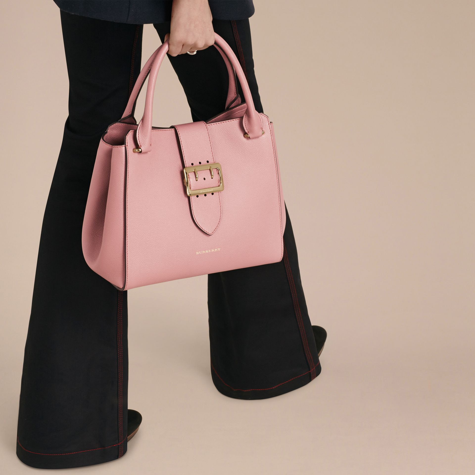 The Medium Buckle Tote in Grainy Leather in Dusty Pink - gallery image 3