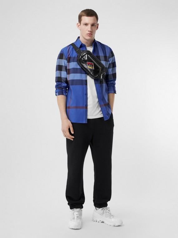 Check Stretch Cotton Poplin Shirt in Opal Blue