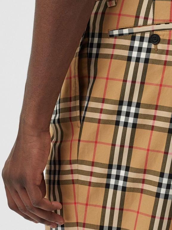Vintage Check Cotton Trousers in Antique Yellow - Men | Burberry - cell image 1