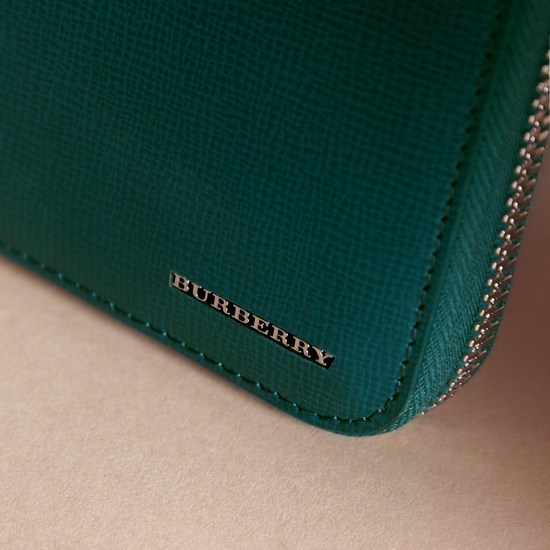 London Leather Ziparound Wallet in Dark Teal - Men | Burberry Singapore - gallery image 2