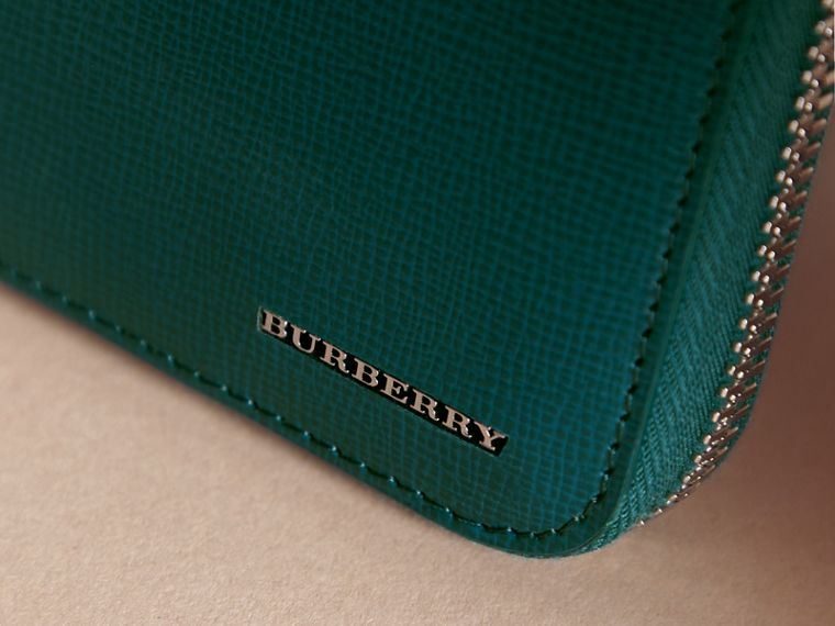 London Leather Ziparound Wallet in Dark Teal - Men | Burberry - cell image 1