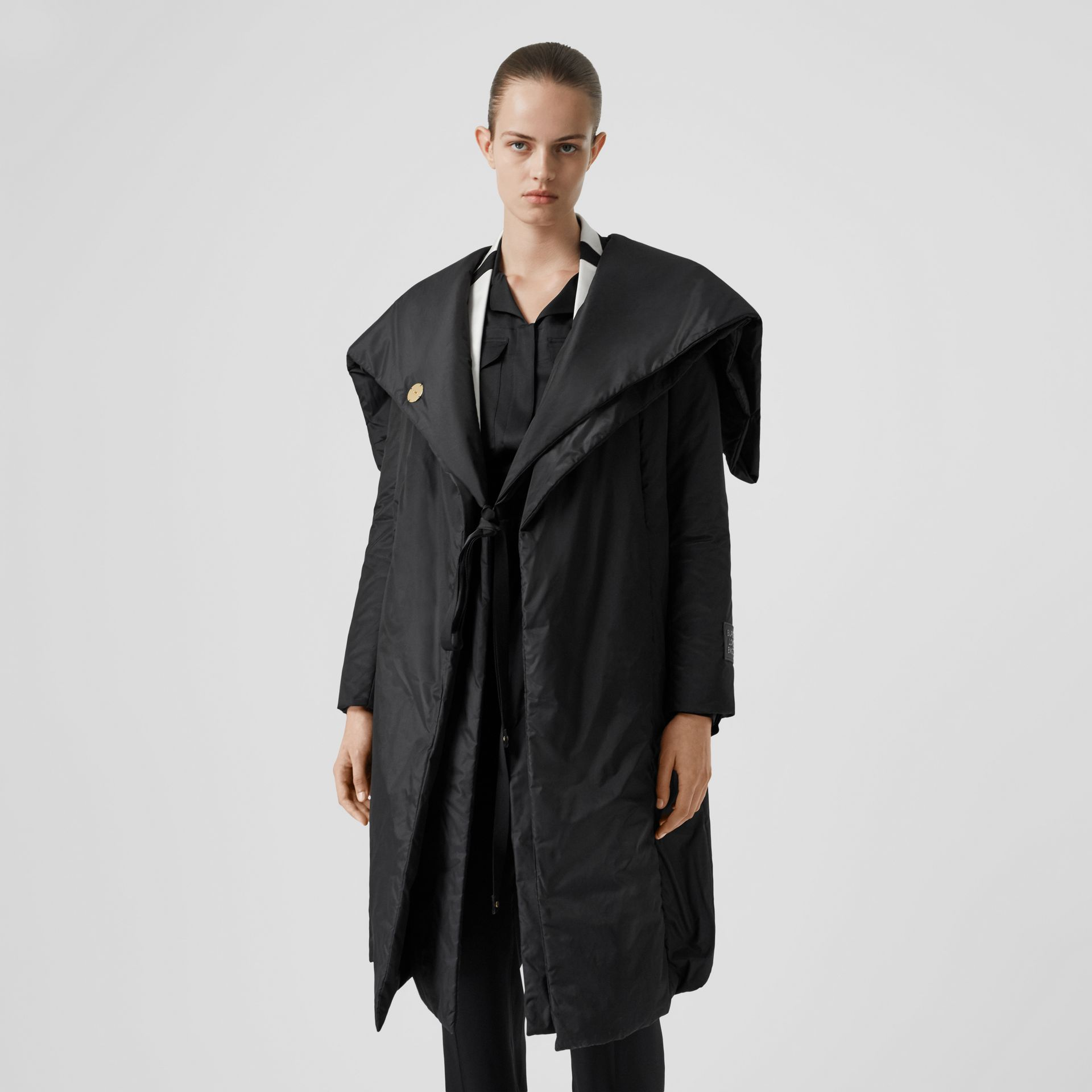 Cape Detail Silk Blend Wrap Coat in Black - Women | Burberry - gallery image 7