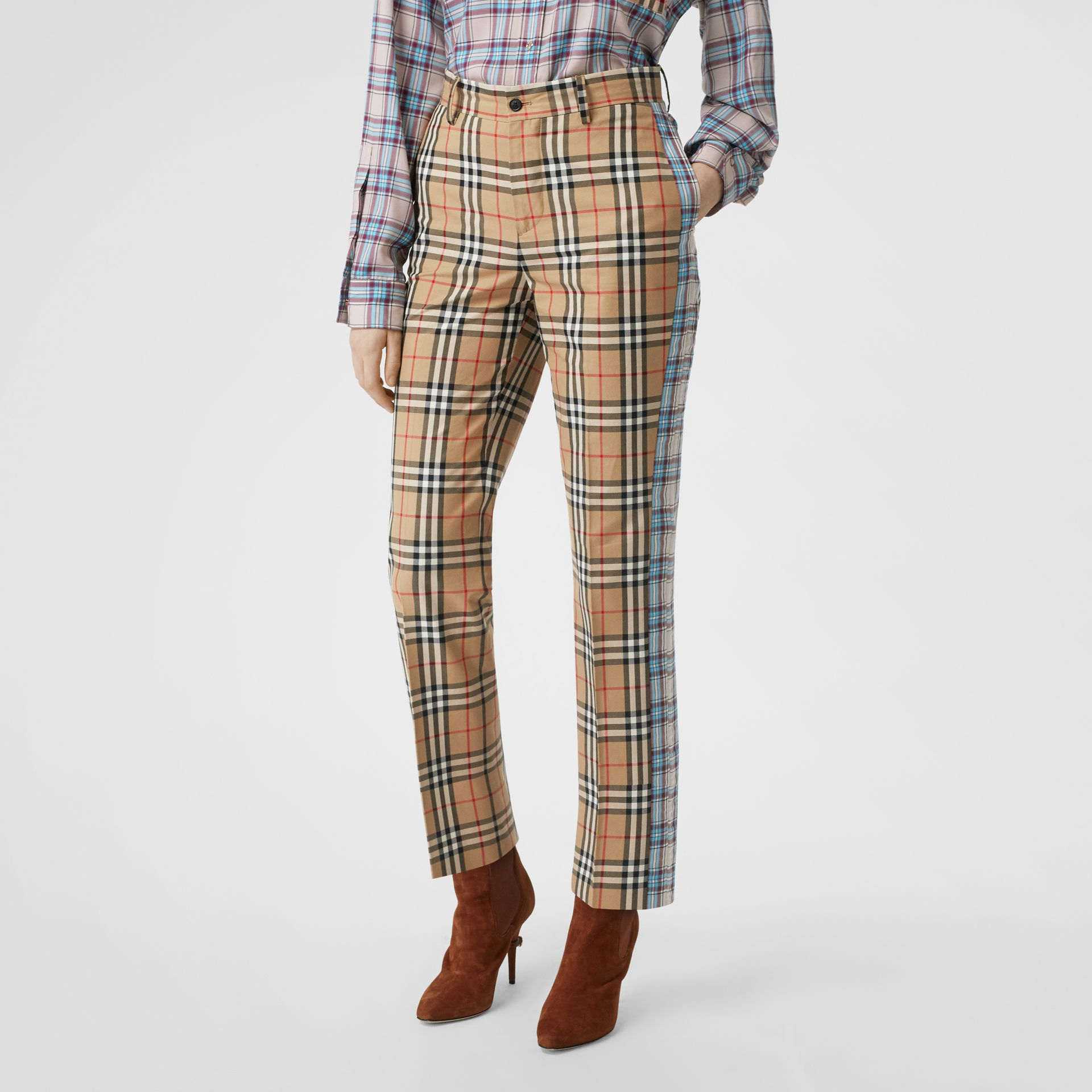 Straight Fit Contrast Check Cotton Trousers in Archive Beige - Women | Burberry United Kingdom - gallery image 4