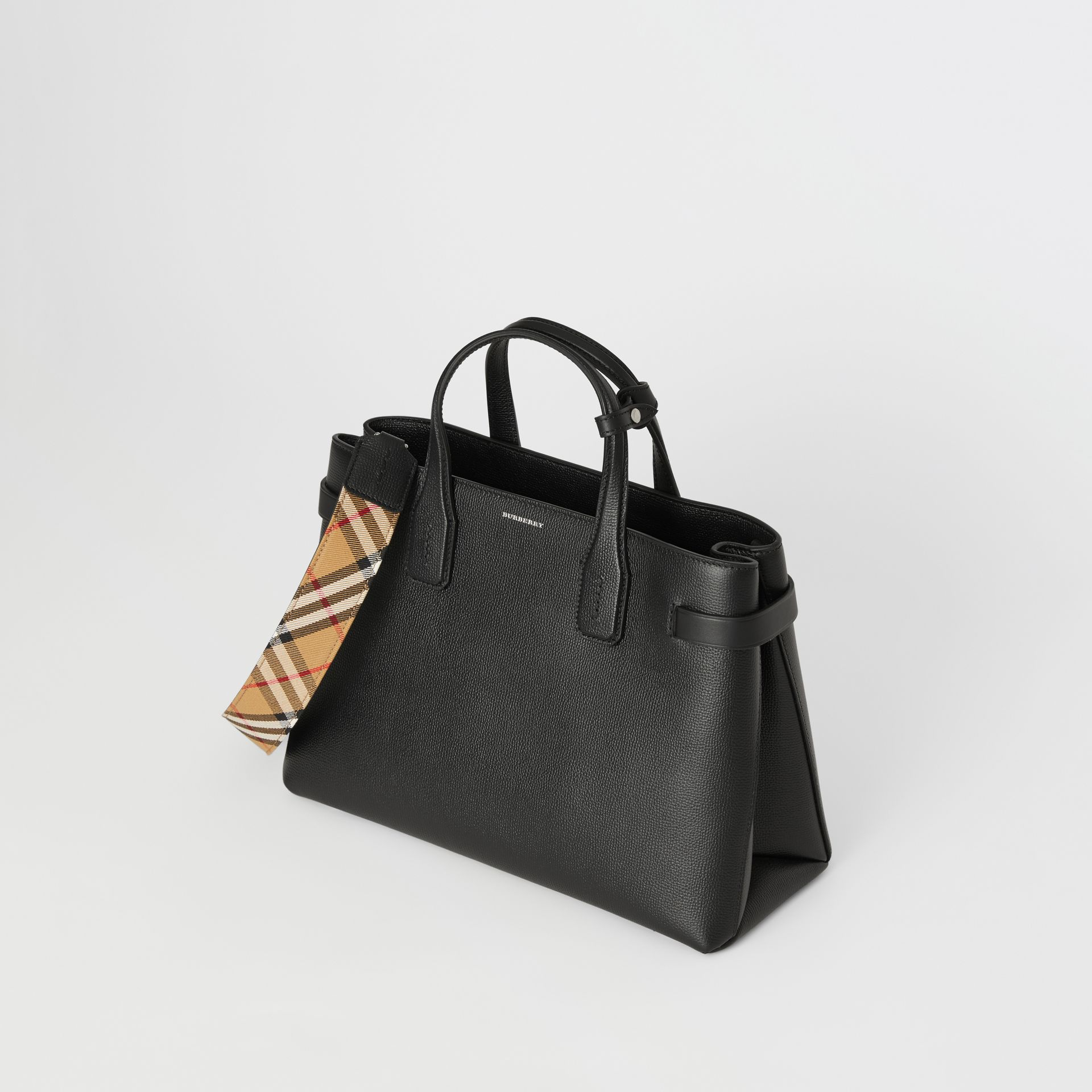 Sac The Banner moyen en cuir et motif Vintage check (Noir) - Femme | Burberry - photo de la galerie 4