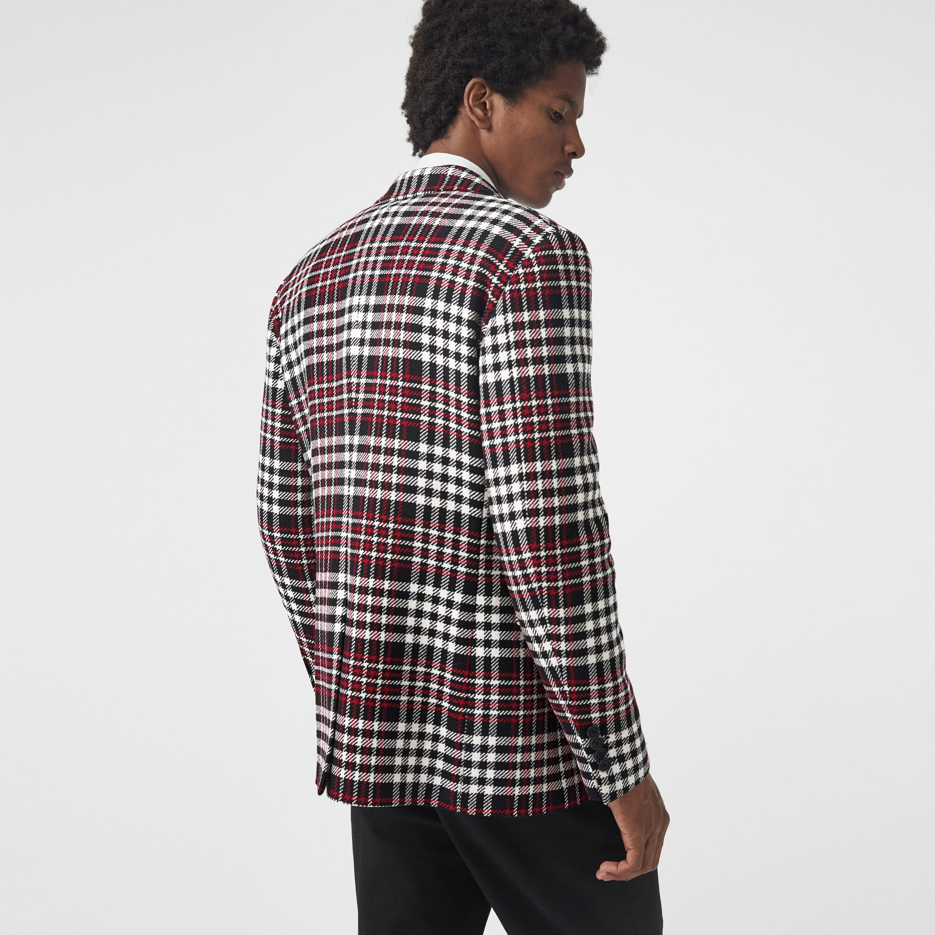 Slim Fit Tartan Technical Wool Tailored Jacket in Red - Men | Burberry Canada - gallery image 2
