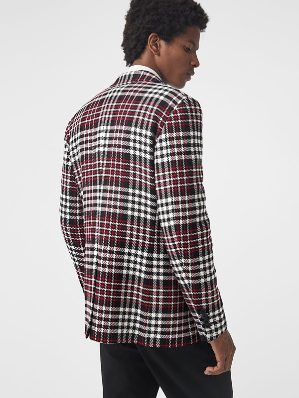 Slim Fit Tartan Technical Wool Tailored Jacket in Red - Men | Burberry Canada - cell image 2