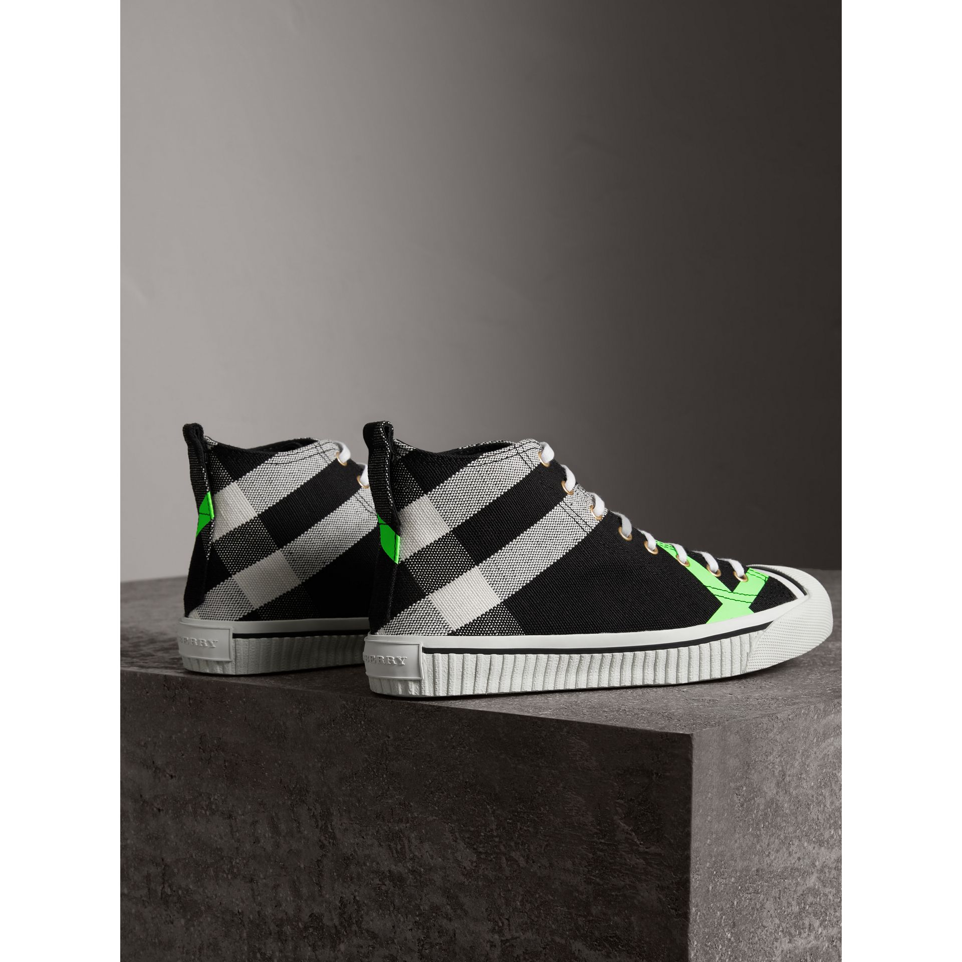 Canvas Check and Leather High-top Sneakers in Black/neon Green - Men | Burberry Australia - gallery image 3