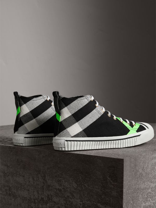 Canvas Check and Leather High-top Sneakers in Black/neon Green - Men | Burberry - cell image 3