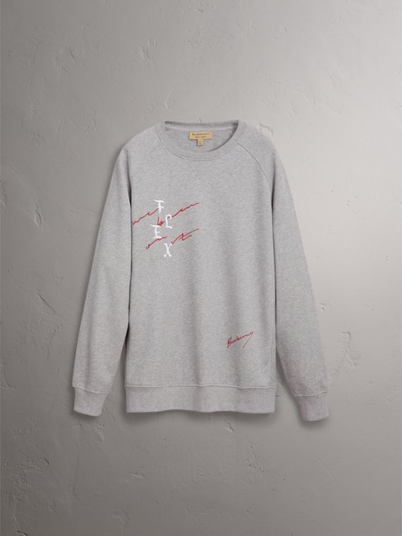 Burberry x Kris Wu Graphic Motif Sweatshirt in Pale Grey Melange - Men | Burberry United States - cell image 3