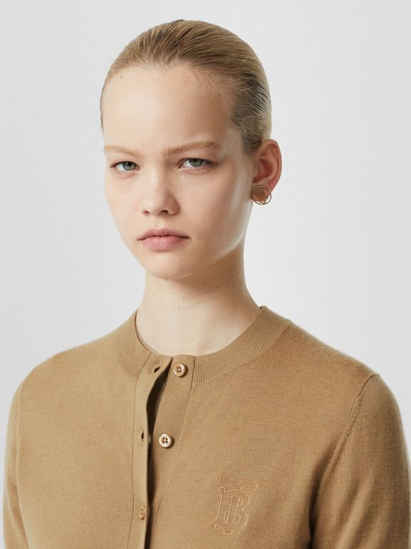 Monogram Motif Cashmere Cardigan in Camel - Women | Burberry Canada - cell image 1