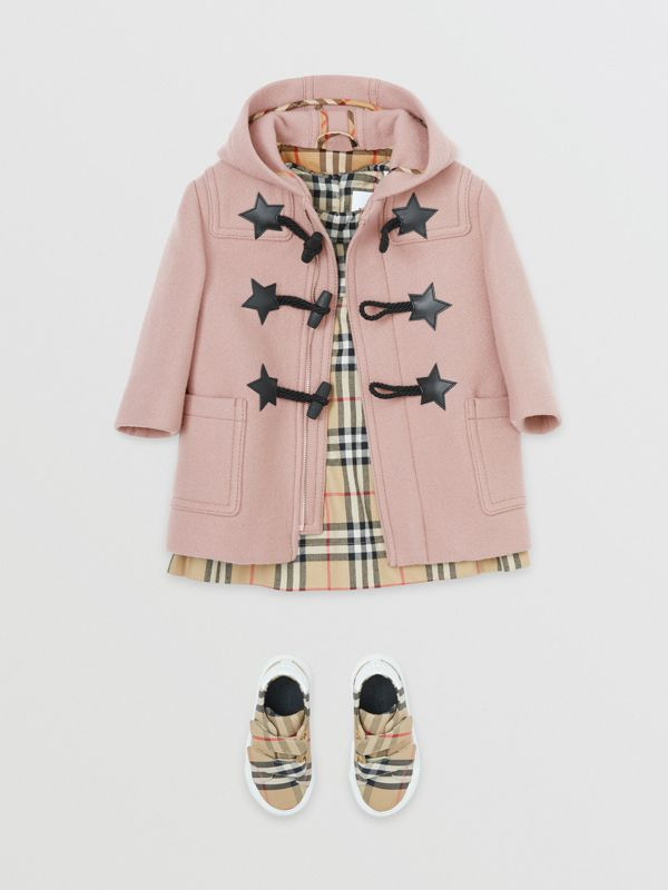 Faux Leather Star Detail Wool Blend Duffle Coat in Lavender Pink - Children | Burberry - cell image 2