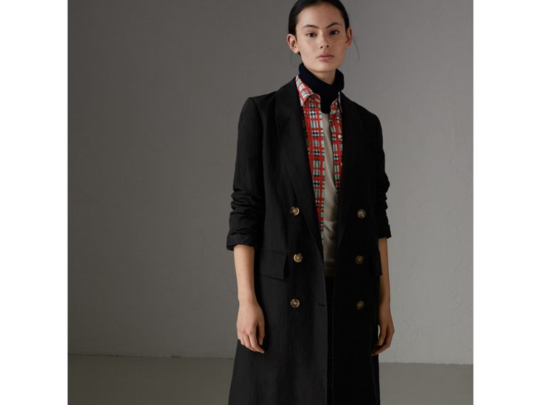 Linen Silk Tailored Coat in Black - Women | Burberry Canada - cell image 4