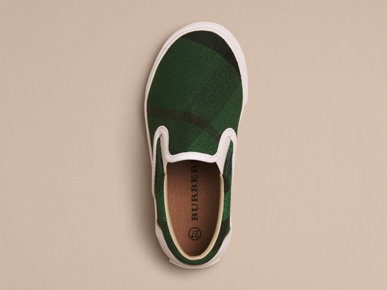Bright jade green Canvas Check Slip-on Trainers - cell image 2