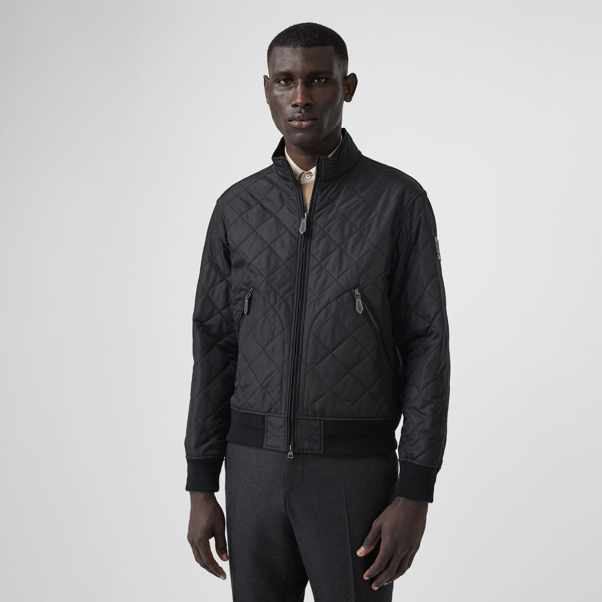 Diamond Quilted Thermoregulated Jacket in Black - Men | Burberry - gallery image 5