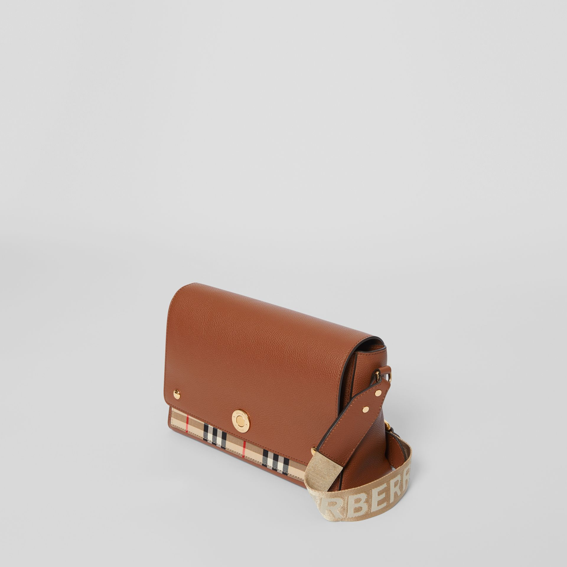 Leather and Vintage Check Note Crossbody Bag in Tan - Women | Burberry United Kingdom - gallery image 3