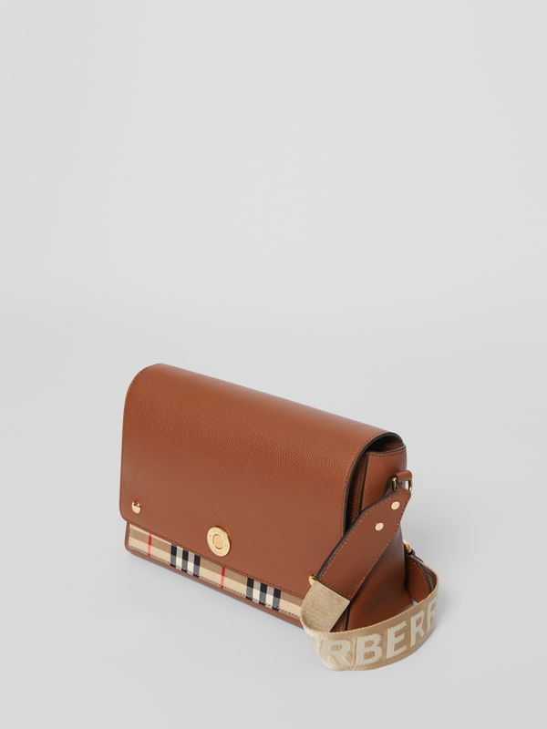 Leather and Vintage Check Note Crossbody Bag in Tan - Women | Burberry - cell image 3