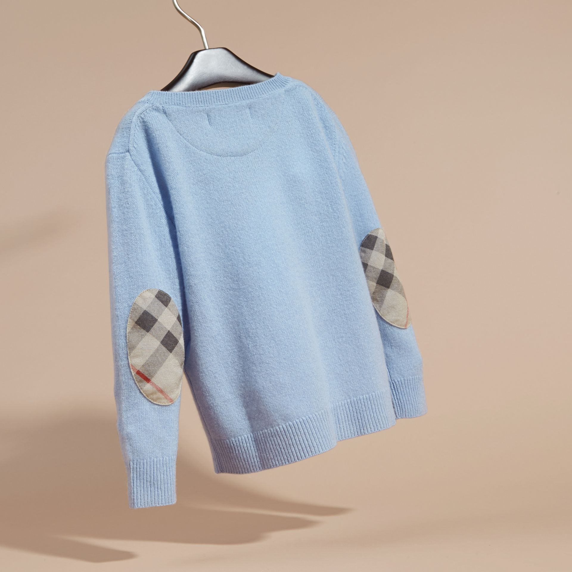 Pale cornflower blue Check Elbow Patch Cashmere Sweater Pale Cornflower Blue - gallery image 4