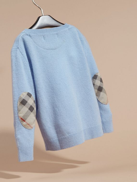 Check Elbow Patch Cashmere Sweater in Pale Cornflower Blue - cell image 3