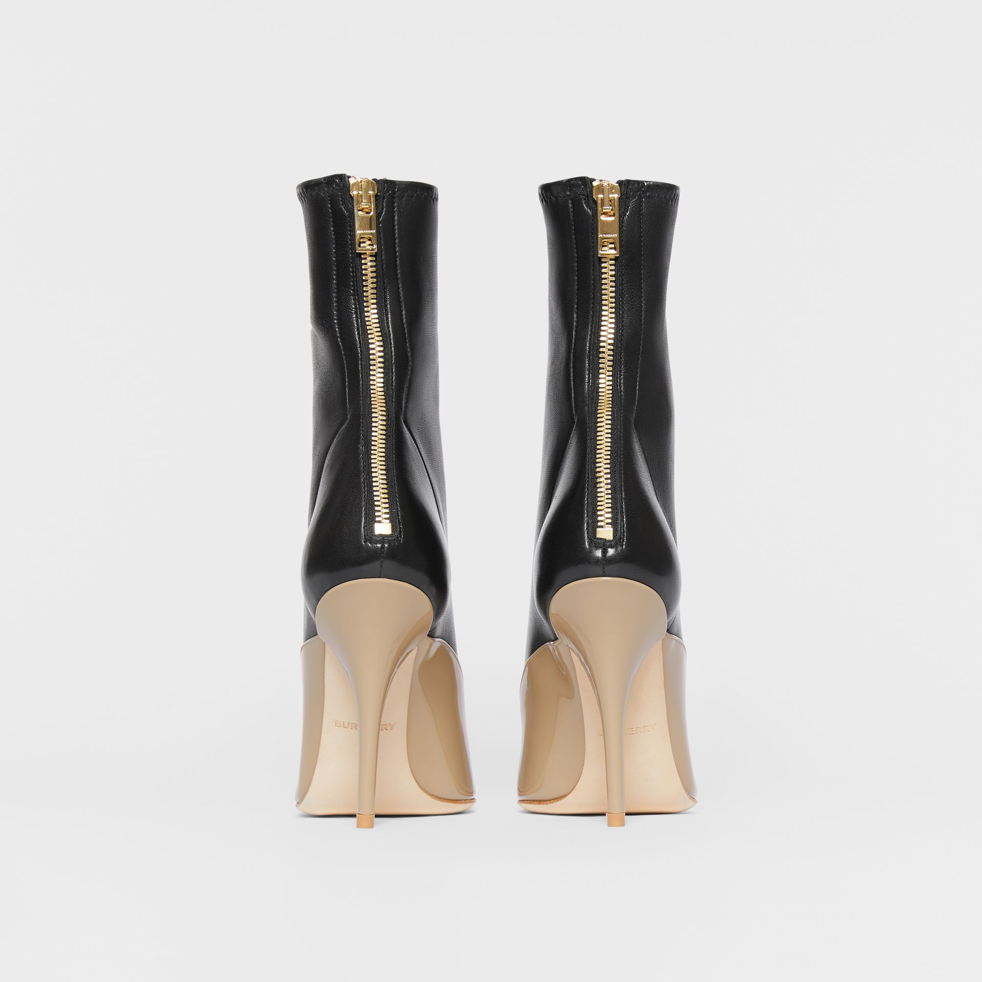 Two-tone Lambskin and Patent Leather Ankle Boots in Dark Honey/black - Women | Burberry - gallery image 4