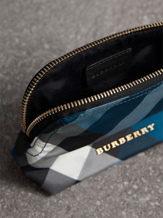 Small Zip-top Check Pouch in Marine Blue - Women | Burberry - cell image 3
