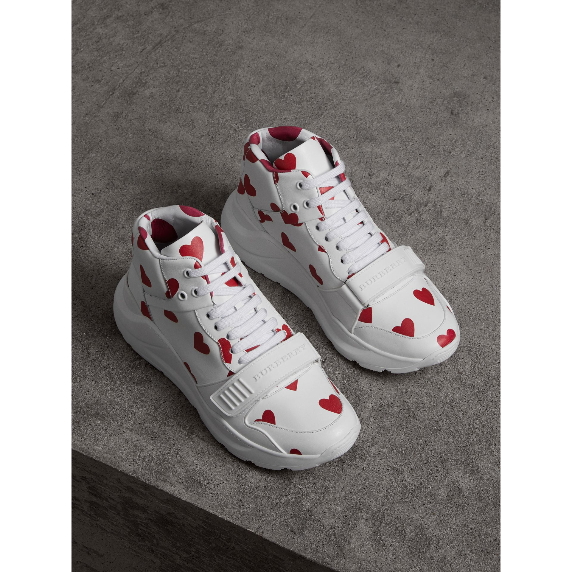 Heart Print Leather High-top Sneakers in Windsor Red/optic White - Women | Burberry - gallery image 4