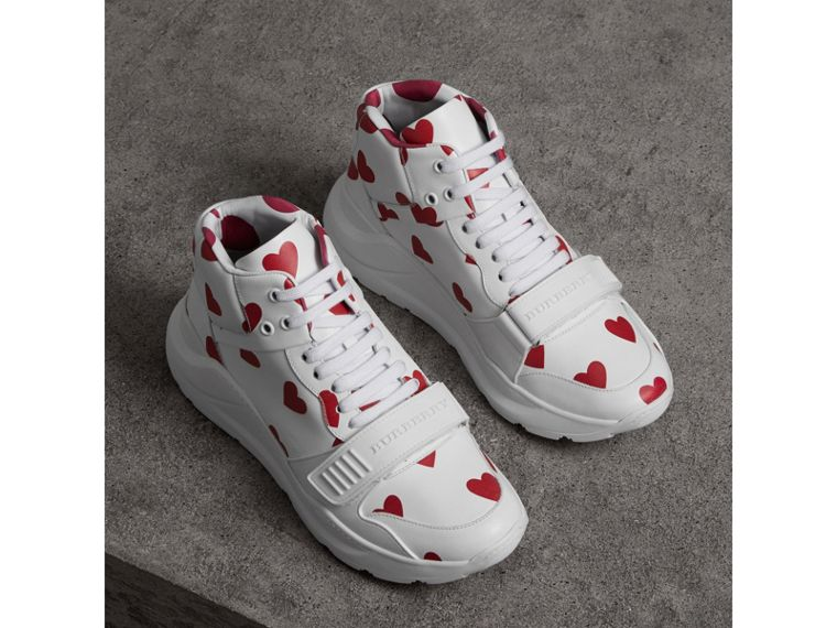 Heart Print Leather High-top Sneakers in Windsor Red/optic White - Women | Burberry United Kingdom - cell image 4