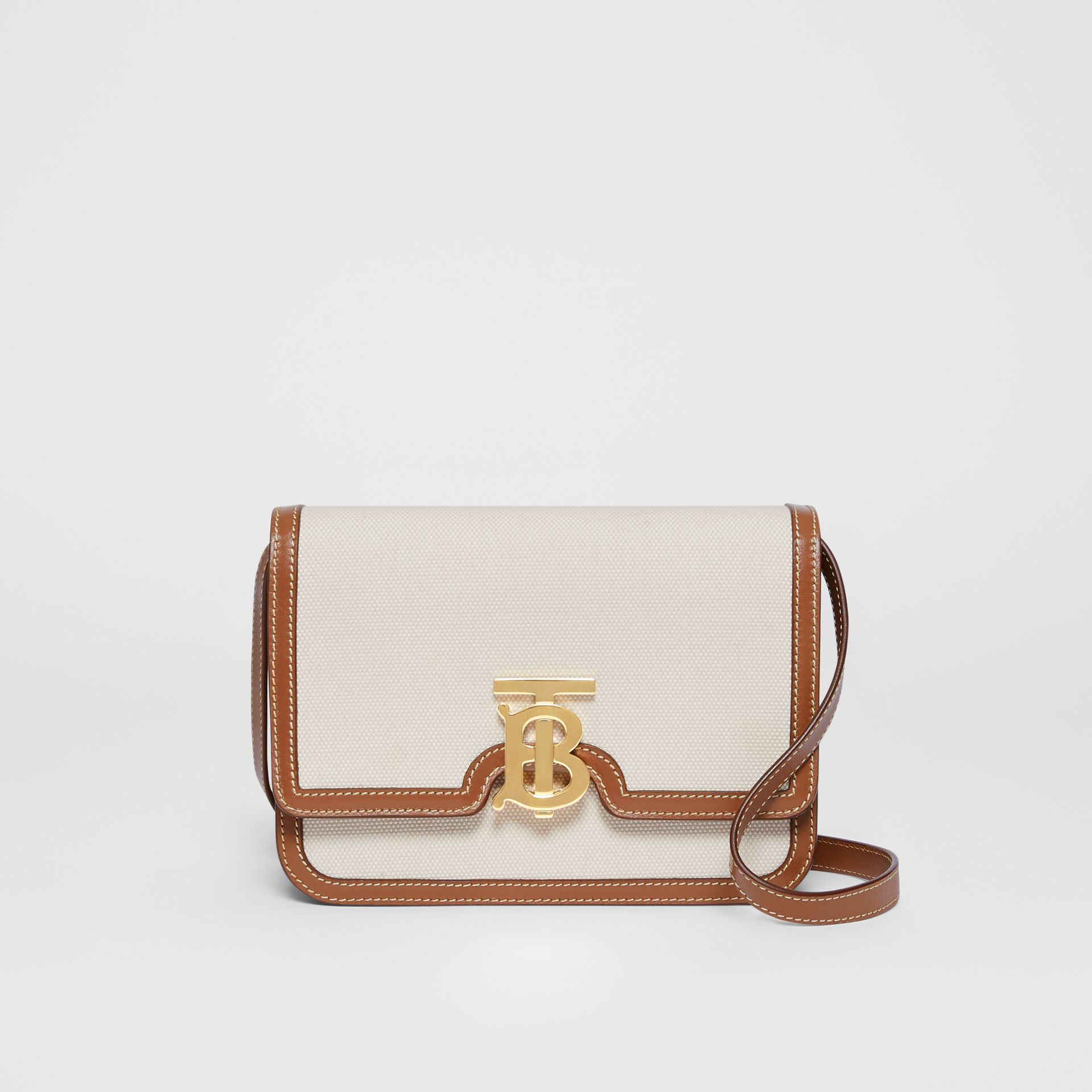 Small Two-tone Canvas and Leather TB Bag in Malt Brown - Women | Burberry Australia - gallery image 0