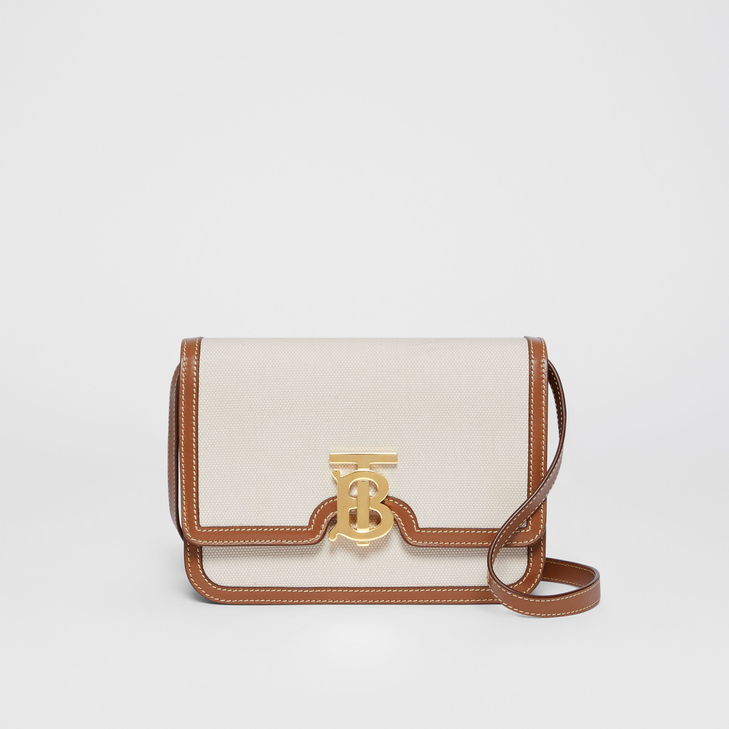 Small Two-tone Canvas and Leather TB Bag in Natural/malt Brown - Women | Burberry United Kingdom - 1