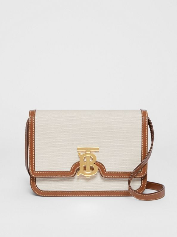 Small Two-tone Canvas and Leather TB Bag in Malt Brown