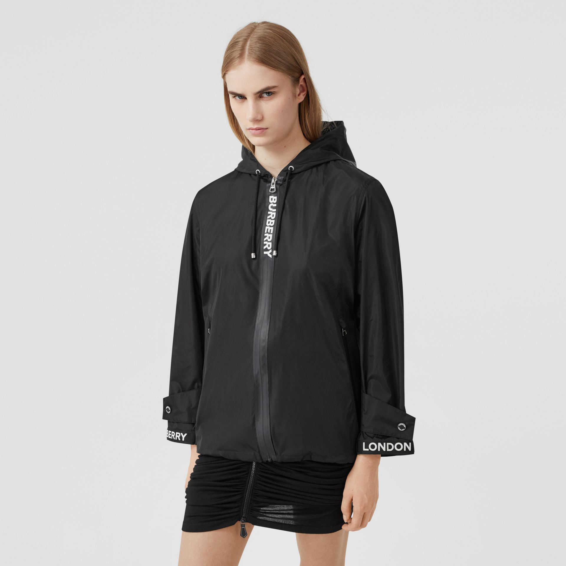 Logo Tape ECONYL® Hooded Jacket in Black - Women | Burberry United States - gallery image 0