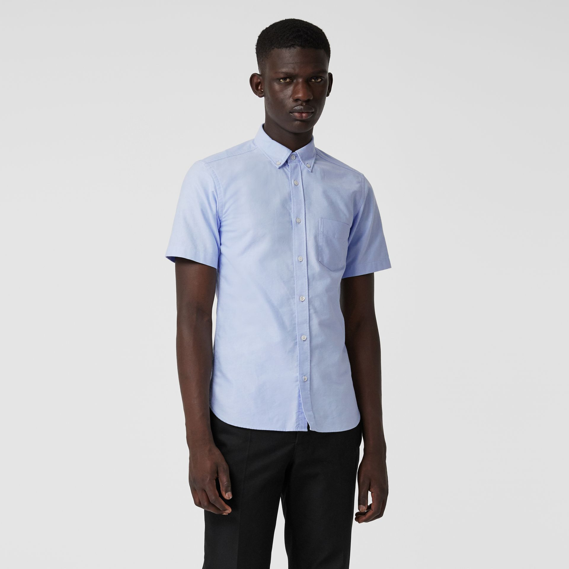 Short-sleeve Cotton Oxford Shirt in Cornflower Blue - Men | Burberry - gallery image 0