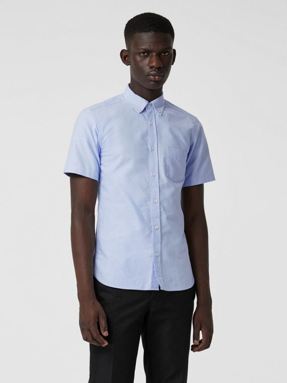 Short-sleeve Cotton Oxford Shirt in Cornflower Blue