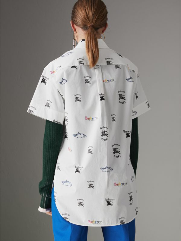 Short-sleeve Archive Logo Print Shirt in Multicolour - Women | Burberry Hong Kong - cell image 2